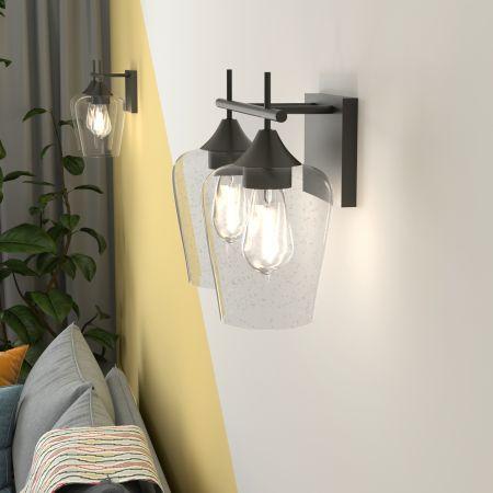 Costway Applique Murale 2PCS avec Abat-Jour en Verre Transparent Ampoule 60W(non-inclus)