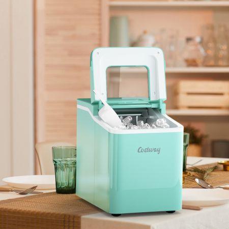 Costway Machine à Glaçons 12KG /24H Portable 9 Glaçons par 8 Min avec Réservoir 1,6L Auto-Nettoyage Affichage-LCD 120W Vert