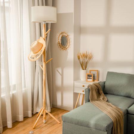 Costway Lampe sur Pied et Portemanteau avec 6 Crochets Support en Bois Abat-Jour en Tissu et Interrupteur à Pied pour Intérieur
