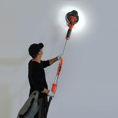Costway Ponceuse de Plaque de Plâtre 750W avec Lumière LED 6 Vitesses Variables 800-1750 tr/min