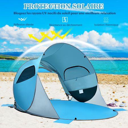 Costway Tente de Plage Pliable Pop-up Automatique Instantanée 3-4 Personnes Anti UV 220x159x115cm avec 8 Sardines 4 Cordes d'Ancrage Bleu