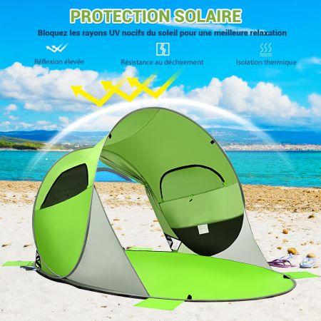 Costway Tente de Plage Pliable Pop-up Automatique Instantanée 3-4 Personnes Anti UV 220x159x115cm avec 8 Sardines 4 Cordes d'Ancrage Vert