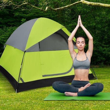Costway Tente de Camping 4 Personnes Double Couche Tissu Oxford Imperméable Sac 2 Cordes Coupe-vent 2 Fenêtres en Maille Filet Vert