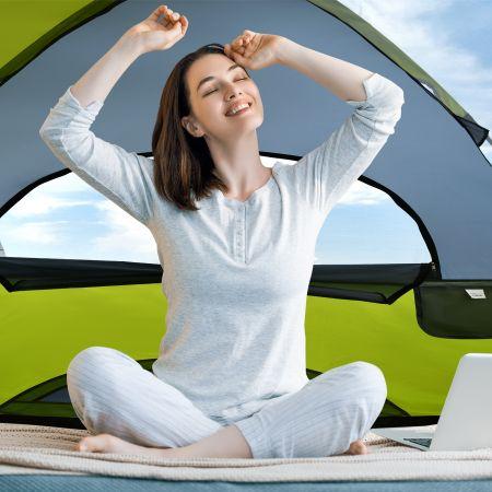 Costway Tente de Camping 2 Personnes Double Couche Tissu Oxford Imperméable Sac 2 Cordes Coupe-vent 2 Fenêtres en Maille Filet Vert