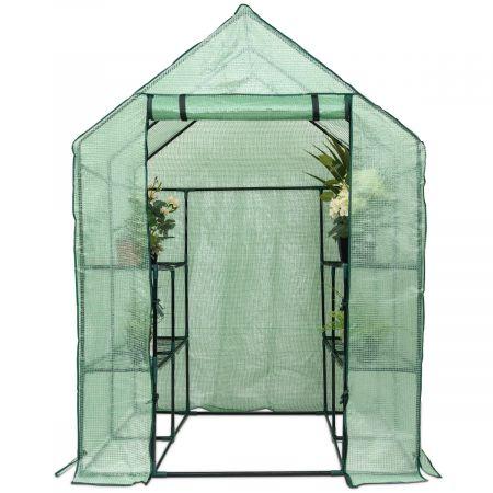 Serre de Jardin Chaud Serre à Tomates Tente de Plante 3 étages en Vert Transparent 143x143x195cm