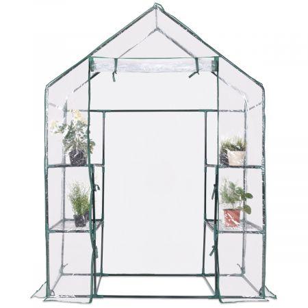Mini Serre de Jardin Serre à Tomates Tente de Plante PVC 3 étages Transparent 143x73x195cm