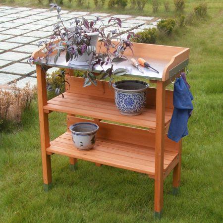 Costway Table de Rempotage en Bois avec Plateau en Métal Deux Étagères Ouvertes et Crochets de Suspension sur Côté