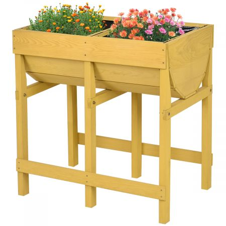 Costway Potager sur Pied Bac Jardinière en Bois Pot à Fleur pour Culture Potagère sur Balcon ou Terrasse 70*44.5*72CM