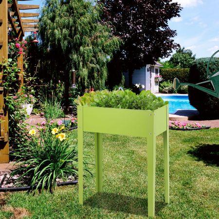 Costway Jardinière Surélevée en Métal Carré Potager sur Pied avec 2 Trous de Drainage Vert 61 x 31 x 80 CM