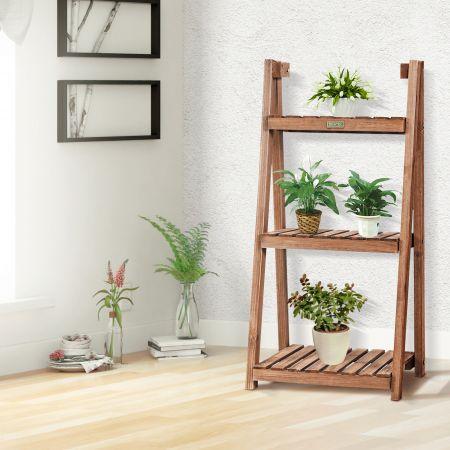 Cotway Étagère Pliable pour Plantes en Bois à 3 Niveaux 45 x 37,5 x 94,5 cm Style Rustique pour Jardin Terrasse Marron Foncé