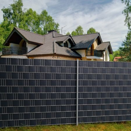 Costway Brise-Vue en PVC 35mx19cm 450g/m² avec 20 Clips de Fixation pour Jardin Protection de la Vie Privée Gris Foncé