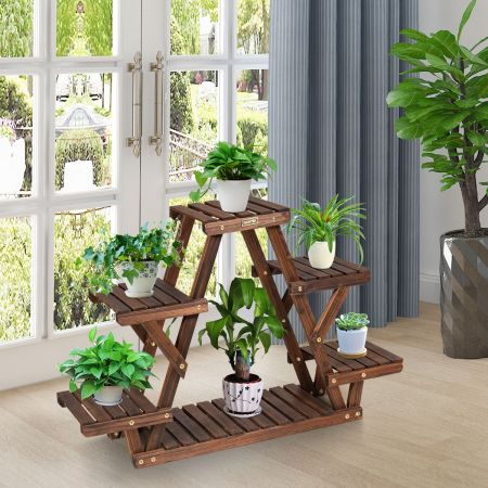 Costway Étagère pour Plantes en Bois 6 Tablettes 99 x 25 x 64 cm Charge 10KG par Niveau Terrasse Jardin Balcon Salon