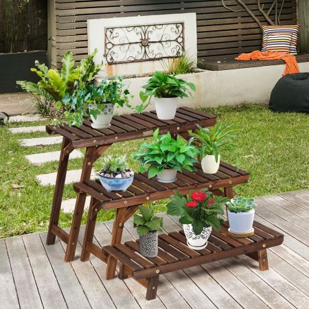 Costway Étagère pour Plantes en Bois 3 Niveaux Echelle Escalier Porte-Plante Longueur 70CM Charge 10KG pour Jardin Terrasse Balcon
