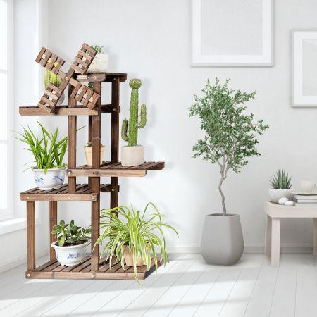 Costway Étagère pour Plantes en Bois de Sapin à 5 Niveaux avec Moulin à Vent 63 x 25 x 97 cm pour Terrasse Jardin Salon Nature