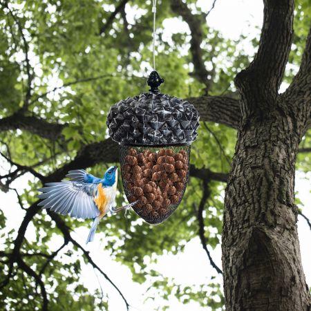 Costway Mangeoire à Oiseaux en Forme de Gland à Suspendre en Résine avec Fil d'Acier Inoxydable et Grillage en Fer