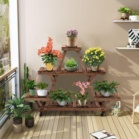 Costway Étagère en Bois à Roulettes avec 2 Freins à 4 Niveaux pour 7 Pots 143,6 x 28 x 104,6 CM Jardin Maison Balcon
