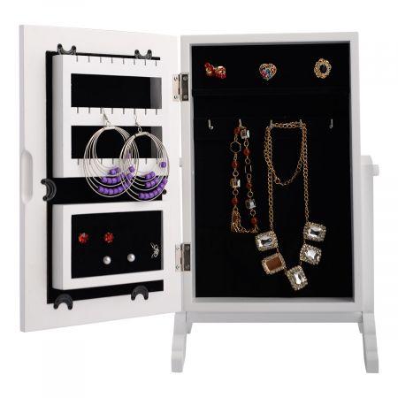 Costway Armoire à bijoux sur pied avec miroir accesoires collier coffre à miroir rangement