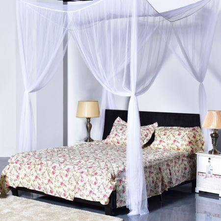 Costway Ciel de lit moustiquaire Quatre coins Protection complete Reine prince Insecte romantique neuf 2couleurs-Blanc