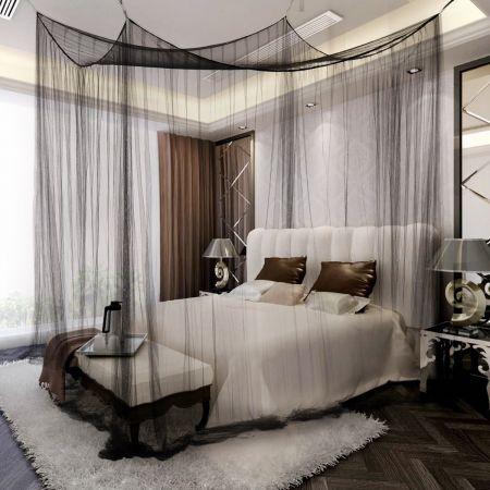 Costway Ciel de lit moustiquaire Quatre coins Protection complete Reine prince Insecte romantique neuf 2couleurs-Noir
