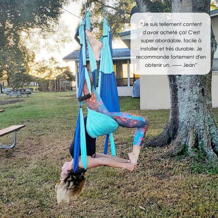Costway Hamac de Yoga Aérien en Nylon Charge Maximale 272KG pour Fitness avec Un Sac de Rangement Yoga Anti-Gravité Bleu