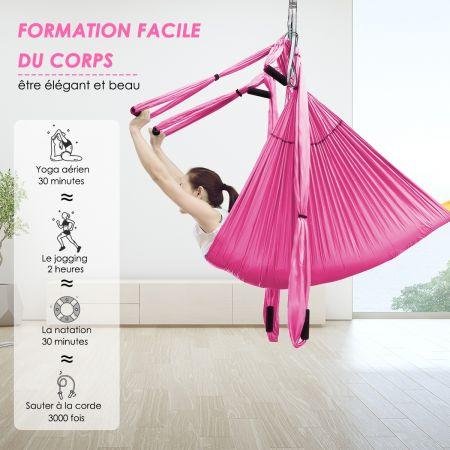 Costway Hamac de Yoga Aérien en Nylon Charge Maximale 272KG pour Fitness avec Un Sac de Rangement Yoga Anti-Gravité Rose