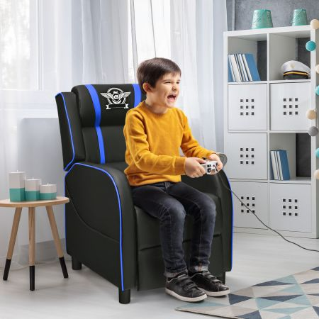 Costway Fauteuil pour Gaming Extensible avec Repose-Pied et Coussin Lombaire en PU Inclinable 90°-160° Bleu