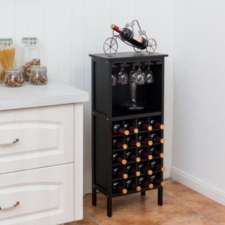 Costway Casier à Vin en Bois Porte-Bouteille avec Cintre en Verre Capacité de 20 Bouteilles Noir
