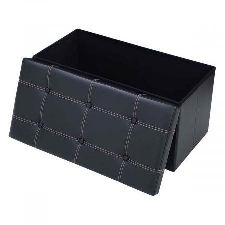 Costway Tabouret de Cube Pouf Pliable Banc Coffre Rangement Boîte de Rangement Grand Cacité de Stockage Noir