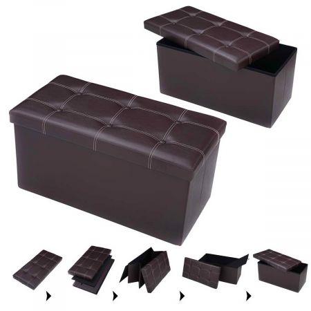Costway Tabouret de Cube Pouf Pliable Banc Coffre Rangement Boîte de Rangement  Brun Grande Espace de Stockage