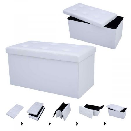 Costway Tabouret de Cube Pouf Pliable Banc Coffre Rangement Boîte de Rangement  Blanc Grande Capacité de Stockage