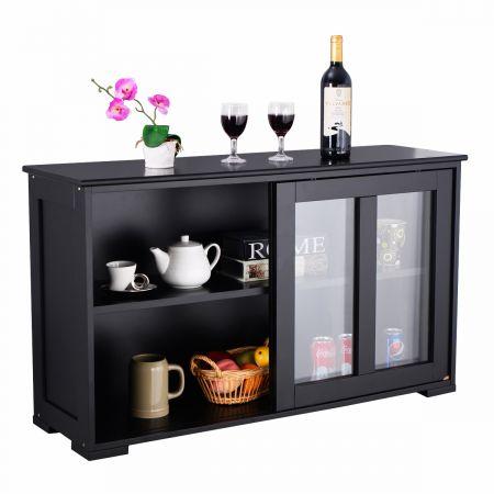 Costway Buffet Meuble de Cuisine Cabinet de Stockage Placard Verre Porte Coulissante Noir en MDF de Haute Qulaité
