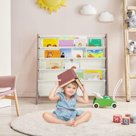 Costway Bibliothèque pour Enfant en Bois avec 4 Compartiments Bibliothèque Porte-Revue Etagère de Livre 62 x 26 x 60 cm Café