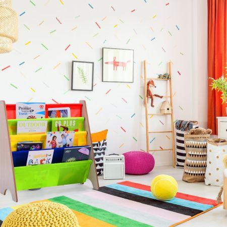 Costway Bibliothèque Enfant 4 Compartiments Etagère Enfant Rangement 62 x 26 x 60 cm 2 Modèle à Choisir