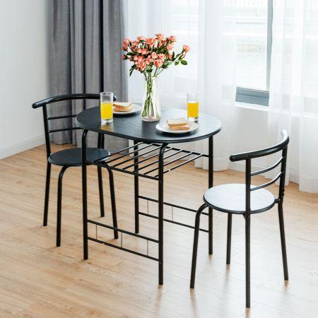 Costway Table et Chaises de Cuisine Table et 2 Chaises Table et Chaises Salle à Manger MDF Noir