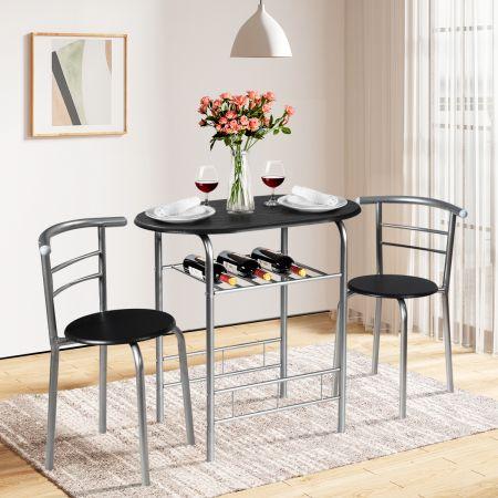 Costway Table et Chaises de Cuisine Table et 2 Chaises Table et Chaises Salle à Manger  Argent