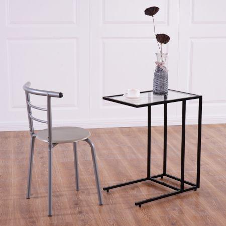 Costway Table d'Appoint Table Basse Moderne Bout de Canapé à café en Verre Trempé et Acier 35 x 55,5 x 65 cm Noir