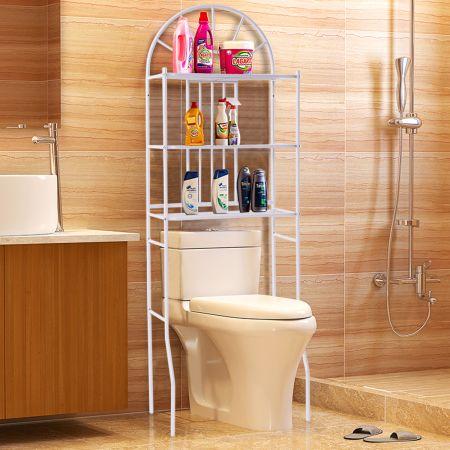 3 Etagère Salle de Bain Rangement Meuble Toilettes WC Métal Blanc 59 x 37 x 173cm