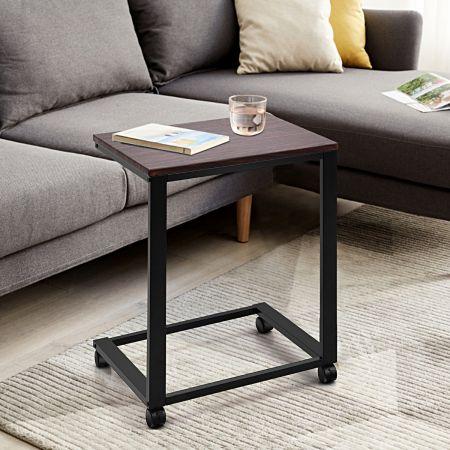 Costway Bureau Informatique avec 4 Roulettes Table de Lit Table d'Appoint 50 x 40 x 64 cm Noir