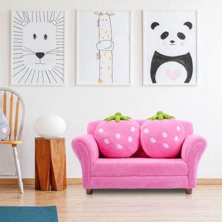 Costway Canapé sofa enfant 2 oreillers meubles chambre d'enfant jeu confort repos rose