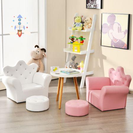 Costway Canapé Princesse pour Enfants Dossier Haut Fauteuil avec Repose-Pieds Blanc