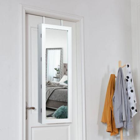 Costway Armoire à Bijoux avec LED Dedans Crochets Miroir et Tiroirs pour Maquillage Quotidien et Bijoux 37 x 9,5 x108 cm Blanc