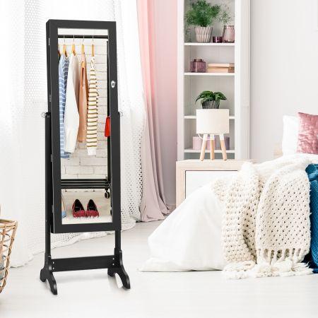 Costway Armoire à Bijoux sur Pied avec Miroir Pivotante à 4 Niveaux avec 8 Étagères Doublées Noir