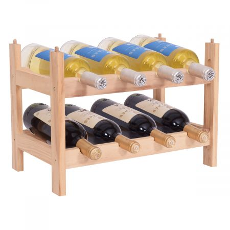 Porte-bouteille de vin de casier à vin en bois debout 8 bouteilles bouteille de vin meuble étagère en bois étagère empilable / extensible