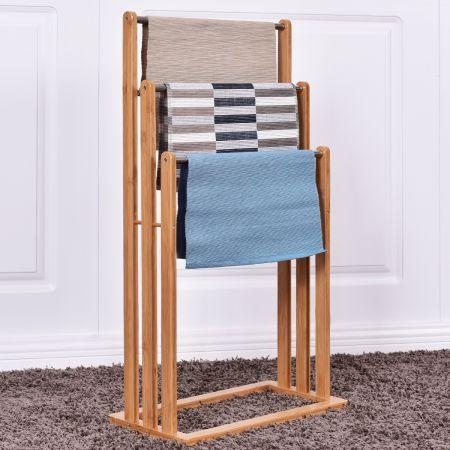 Porte-serviette et vêtement, Échelle pour serviettes, Meuble serviette 3 barre  nature 46*24*84CM(L*P*H)