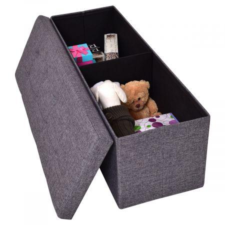 Coffre siège de rangement tabouret pouf banc pliable en couleur en Polyester et MDF de Haute Qualité Gris