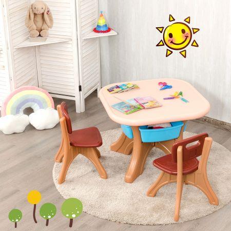 Costway Ensemble Table et Chaises pour Enfant Inclus 1 Table et 2 Chaises Matériau Ecologique