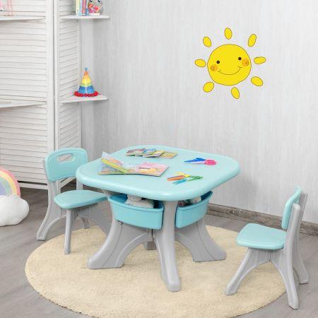 Costway Ensemble Table et Chaises pour Enfant Inclus 1 Table et 2 Chaises Matériau Ecologique Forte Capacité de Charge