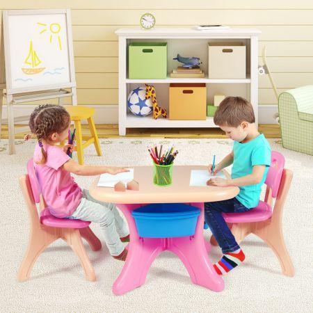 Costway Ensemble Table et Chaises pour Enfant Inclus 1 Table et 2 Chaises Matériaux Ecologiques