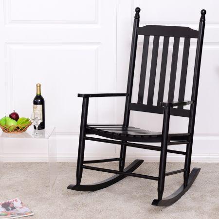 Chaise de salon Fauteuil à bascule en bois Charge max.150 kg Fauteuil berçant   noir