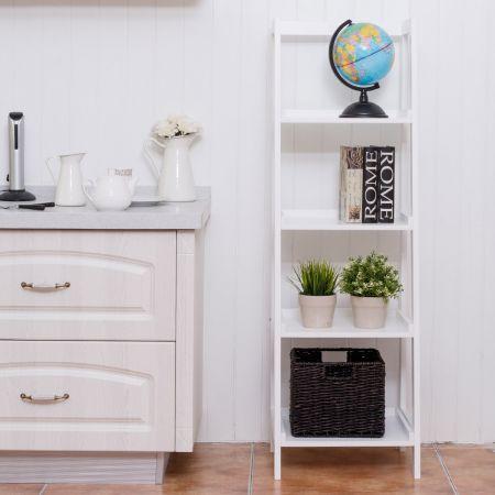 Étagère Bibliothèque Rangement Style Echelle 4 Niveaux Meuble WC Style Echelle 44 * 34 * 140cm Blanc